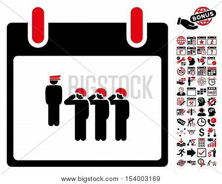 Army Squad Calendar Day pictograph with bonus calendar and time management pictograph collection. Glyph illustration style is flat iconic symbols intensive red and black white background.