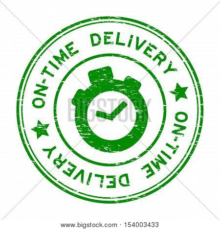 Grunge green on-time delivery with clock icon rubber stamp