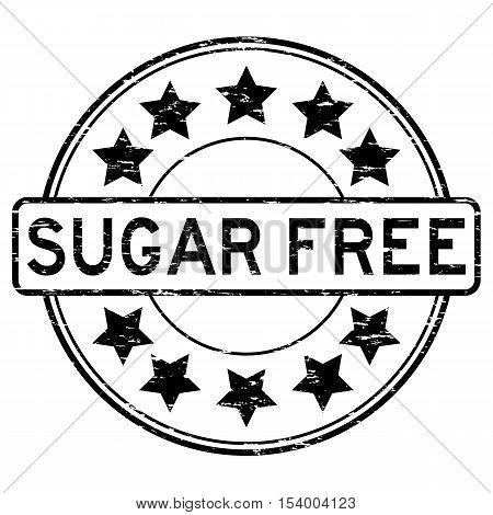Grunge black sugar free round rubber stamp