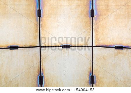 Abstract Textured Background Of Stained Glass In The Metal Frame