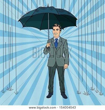 Pop Art Happy Businessman Under the Rain with Umbrella. Vector Retro illustration