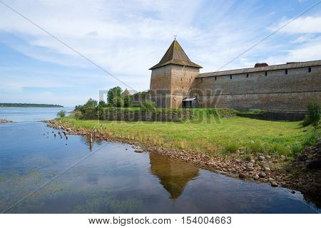 View of the old Sovereign's tower of Oreshek fortress in the sunny august afternoon. Historical landmark of the Shlisselburg, Leningrad region