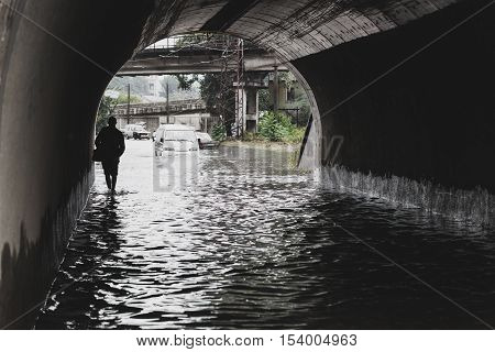 Odessa, Ukraine - September 20, 2016: Tonel. Driving Cars On A Flooded Road During Flooding Caused B