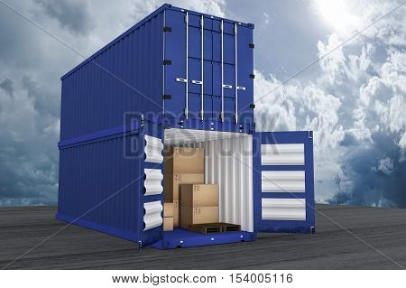 3D rendering : illustration of two container with one opened container and cardboard boxes inside the container.business export import concept.blue sky and cloud in background