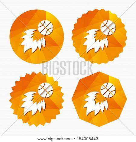 Basketball fireball sign icon. Sport symbol. Triangular low poly buttons with flat icon. Vector