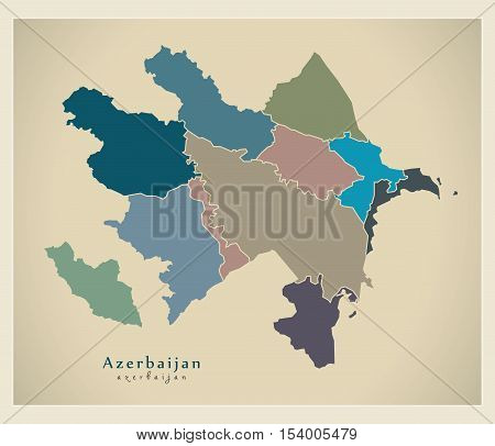 Modern Map - Azerbaijan with regions colored political AZ vector