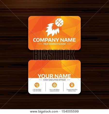 Business or visiting card template. Basketball fireball sign icon. Sport symbol. Phone, globe and pointer icons. Vector
