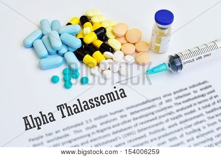 Drugs for alpha thalassemia treatment, blurred text, medical concept