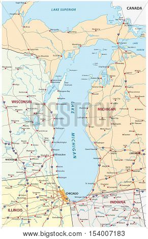 Detailed road map of North American Lake Michigan