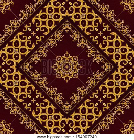 Pattern seamless. Golden crystals weaving arabesques. Gold arabesque oriental style abstract figure tiles mosaics. Sparkling decorative square frame. Dark brown background.