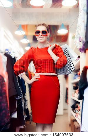 Elegant Woman with Big Shades and Shopping Bags