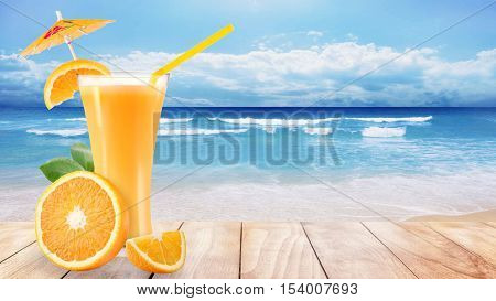 orange juice glass and oranges on wooden beach table in sea shore