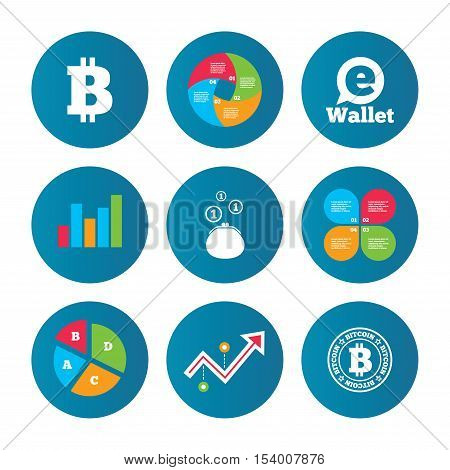 Business pie chart. Growth curve. Presentation buttons. Bitcoin icons. Electronic wallet sign. Cash money symbol. Data analysis. Vector