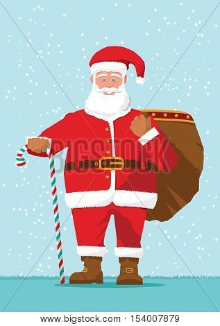 Santa Claus with goody bag for Christmas gifts