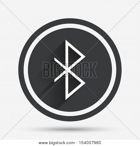 Bluetooth sign icon. Mobile network symbol. Data transfer. Circle flat button with shadow and border. Vector