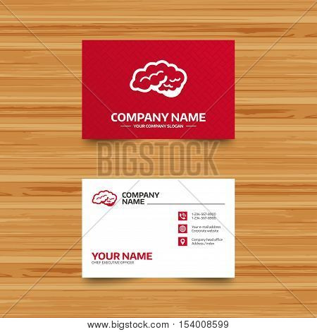 Business card template. Brain with cerebellum sign icon. Human intelligent smart mind. Phone, globe and pointer icons. Visiting card design. Vector