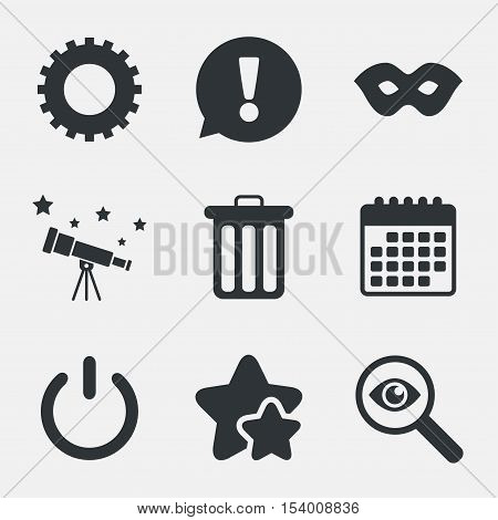 Anonymous mask and cogwheel gear icons. Recycle bin delete and power sign symbols. Attention, investigate and stars icons. Telescope and calendar signs. Vector