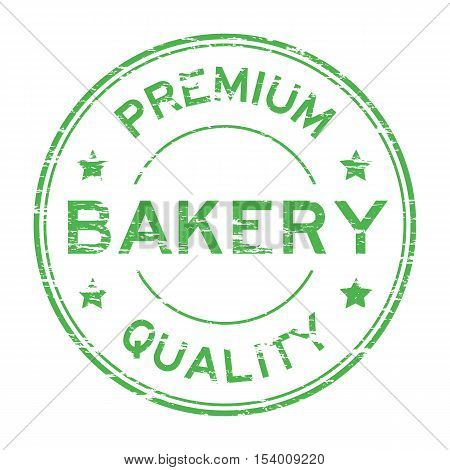 Green grunge bakery premium quality round rubber stamp