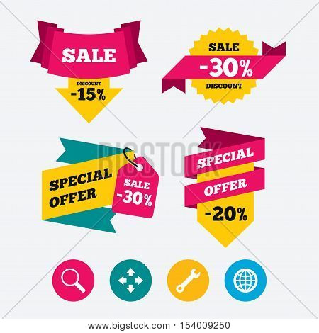 Magnifier glass and globe search icons. Fullscreen arrows and wrench key repair sign symbols. Web stickers, banners and labels. Sale discount tags. Special offer signs. Vector