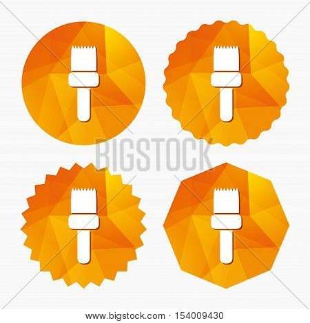 Paint brush sign icon. Artist symbol. Triangular low poly buttons with flat icon. Vector