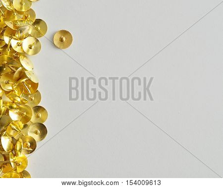 A border with thumb tacks  isolated on a white background