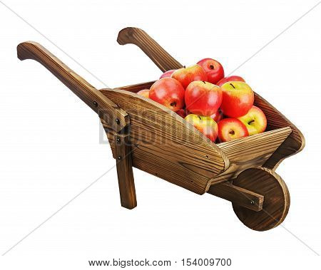 Red apples on wooden pushcart isolated on white background. Closeup.