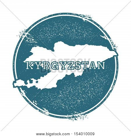 Grunge Rubber Stamp With Name And Map Of Kyrgyzstan, Vector Illustration. Can Be Used As Insignia, L