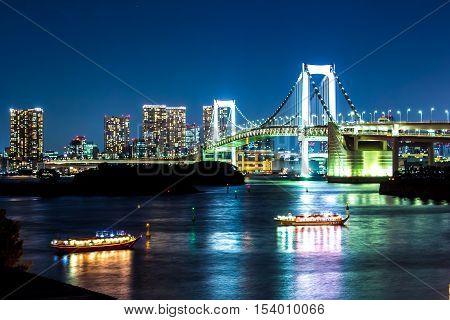 nightscape of Tokyo city view on the bay Japan