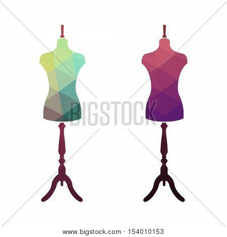 Fashion stand female torso mannequin. tailor multicolor mannequin. body mannequin. sewing tailor mannequin. Fashion Background with Colorful Mannequins.