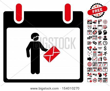 Postman Calendar Day icon with bonus calendar and time management pictograph collection. Glyph illustration style is flat iconic symbols, intensive red and black, white background.