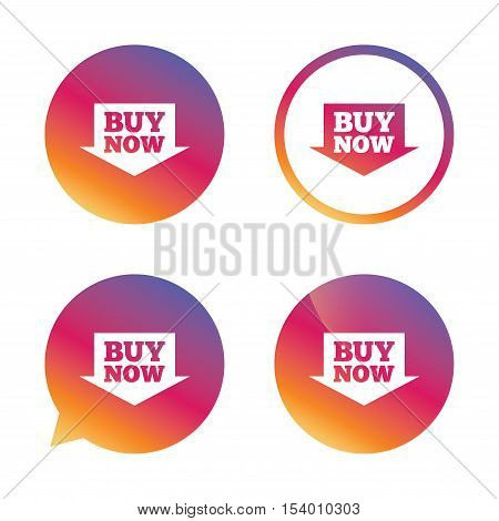 Buy now sign icon. Online buying arrow button. Gradient buttons with flat icon. Speech bubble sign. Vector