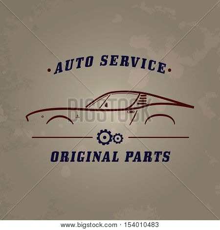 Auto service classic car logo. Car service retro banner design concept. Vintage garage poster with car and auto parts. Retro car service sign.