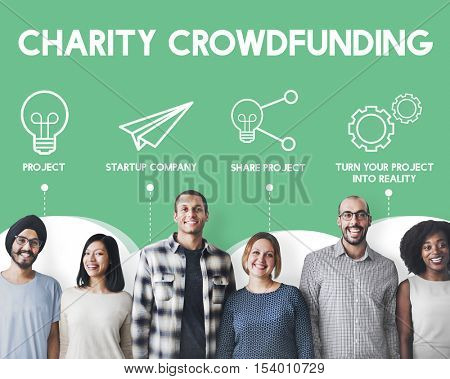 Crowdfunding Start up Business Crowdsourcing Cooperation Graphic Concept