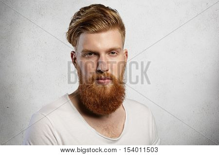 Good-looking Caucasian Student With Thick Red Beard And Mustache, Dressed In Casual T-shirt With Low