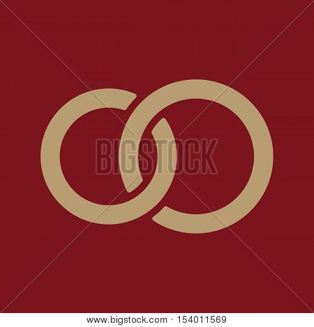 The United wedding ring icon. Marriage and glans symbol. Flat Vector illustration
