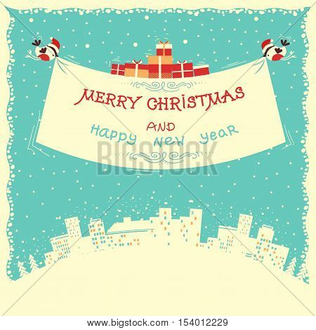 Merry Christmas And New Year Card With Bullfinches Flying Under Winter Cityscape