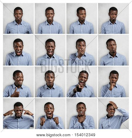 Mosaic Of Handsome Dark-skinned Man Wearing Blue Chekered Shirt Expressing Different Emotions. Colla