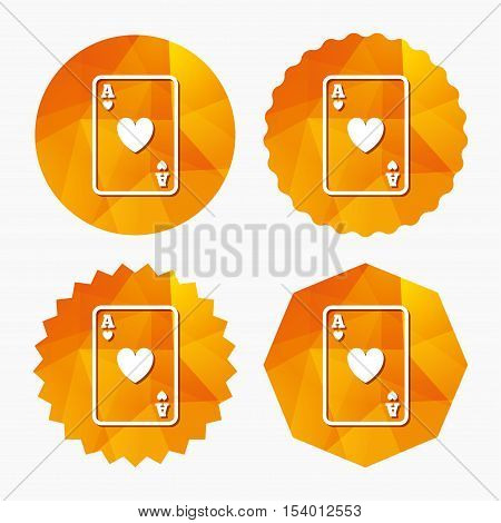 Casino sign icon. Playing card symbol. Ace of hearts. Triangular low poly buttons with flat icon. Vector