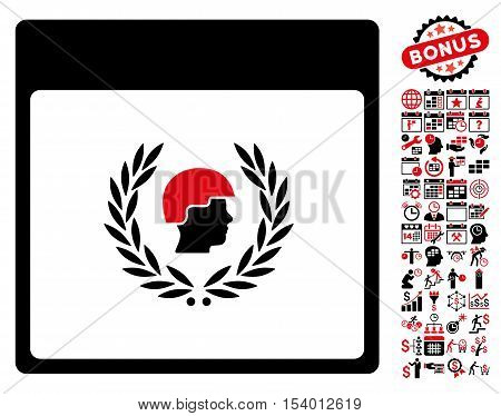 Soldier Laurel Wreath Calendar Page pictograph with bonus calendar and time management graphic icons. Glyph illustration style is flat iconic symbols, intensive red and black, white background.