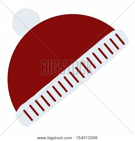 Icon color winter hat with pompom red on a white background. Pattern for decoration or design. Vector illustration