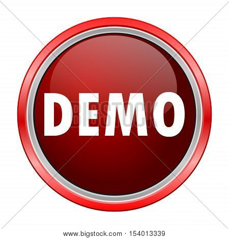 Demo round metallic red button, vector icon