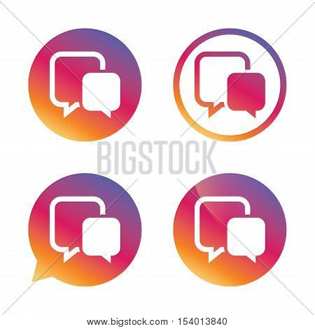 Chat sign icon. Speech bubble symbol. Communication chat bubble. Gradient buttons with flat icon. Speech bubble sign. Vector