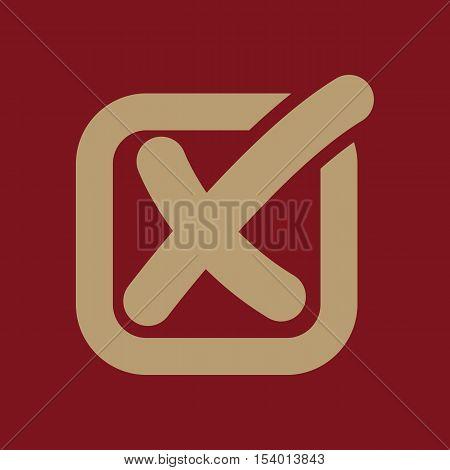 The check icon. Checkmark and checkbox, no, voting symbol. Flat Vector illustration