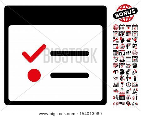 Todo Items Calendar Page icon with bonus calendar and time management graphic icons. Glyph illustration style is flat iconic symbols, intensive red and black, white background.