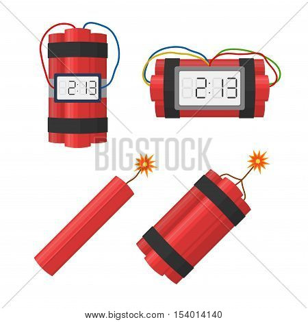 Set dynamite bombs explosion with timer detonate and wire, dynamite with burning wick isolated on white background.