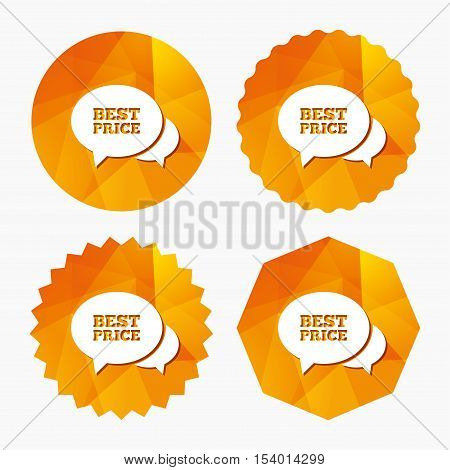 Speech bubble best price sign icon. Special offer symbol. Triangular low poly buttons with flat icon. Vector