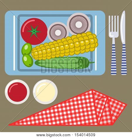 Picnic time nature outdoor recreation napkin plate knife fork sauce ketchup tomato mushroom corn cucumber olives breakfast. Vector illustration. Grouped for easy editing.