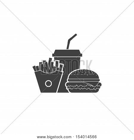 Fast food icon isolated on white background. Fast food hamburger dinner and restaurant, tasty set fastfood icon many meal and unhealthy fast food classic nutrition in flat style.