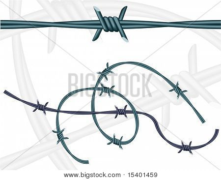 Barbed wires. Vector. Pattern brush. poster