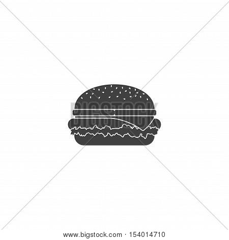 Black hamburger icon isolated on white background. Grilled sandwich burger icon with cheese and snack big burger american cheeseburger delicious cuisine. Classic tasty restaurant fast food.